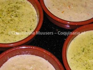 Orange-almond custard and Lime-pistacchio custard before caramelizing