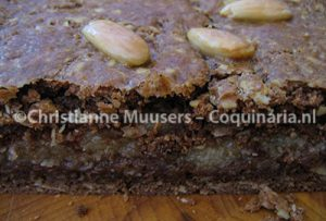 The inside of a speculaas with almond paste stuffing