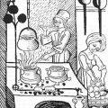 Medieval cooking hearth. Frontispice Viandier