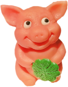This marzipan piglet is 'fake meat'.