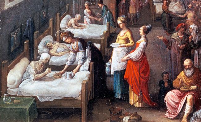 St. Elisabeth bezoekt een ziekenhuis (detail). Adam Elsheimer, 1598. Bron: Wikimedia, Wellcome Library