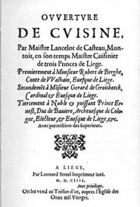 Title page of the 'Ouverture de cuisine' from 1604