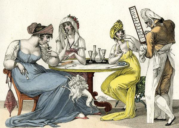 IJs eten is niet erg elegant. Le bon genre - Les glaces (1801?). Satirische prent, British Museum 1866,0407.864