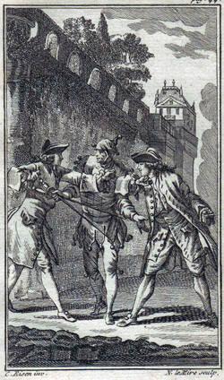 Een duel in Frankrijk in de 18de eeuw. Géén afbeelding van Massialot en La Chapelle!