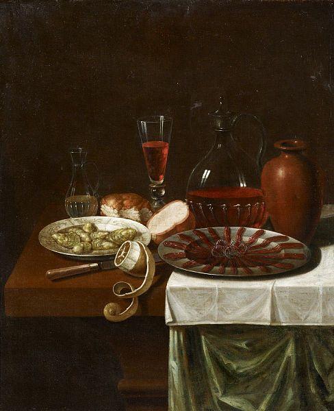 Sebastian Stoskopff, Ontbijtje met ansjovis (1657). Bron: wikimedia