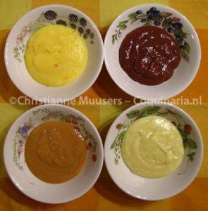 Vier moderne vlasmaken: sinaasappel, chocolade, caramel, vanille