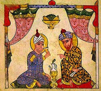 Miniature from the Abassidian age, tasting 'yellow wine' (13th century). Source: wikimedia