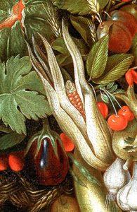 Detail met aubergine uit 'Zomer' van Arcimboldo