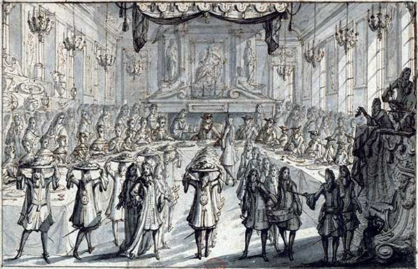 Banquet in honour of Louis XIV in the Hôtel de Ville (Paris?), Pierre Lepautre, 1687 (Source Gallica.bnf)