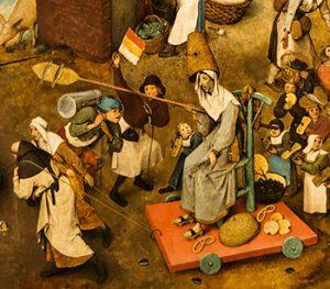 De vastentijd. Fragment uit De strijd tussen carnaval en vasten, Pieter Breughel de Jongere, 2de helft 16de eeuw