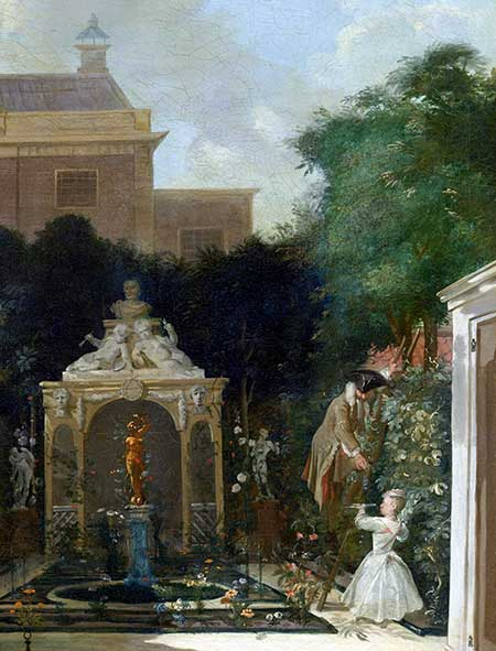Grape vines in an 18th-century Amsterdam garden. Detail from 'Amsterdamse stadstuin', Cornelis Troost (1740-1745) – Rijksmuseum, Amsterdam, objectnr SK-A-2576