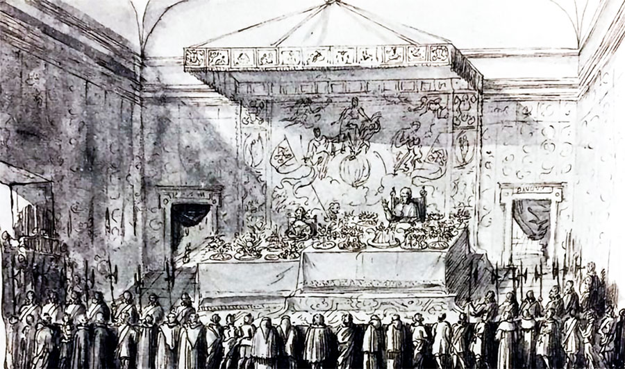 De Zweedse koningin in ballingschap Christina te gast bij paus Clemens IX, 9 december 1668 (detail, Pierre Paul Sevin).