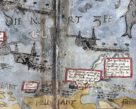 Fragment van de kaart van de Noordzee met haringscholen uit het Visboec van Adriaen Coenen (KB, Den Haag)
