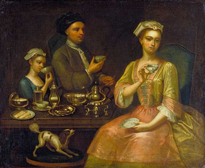 'Family of three at tea' Richard Collins, 1727 (V&A Museum)