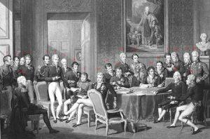 Het Congres van Wenen in 1815, toen Polen werd opgedeeld.