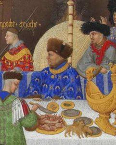 De hertog van Berry aan de maaltijd (Très riches heures du Duc de berry)
