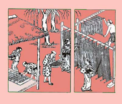 Making Japanese somen noodles in the 18th century. The noodles are stretched on sticks and dried