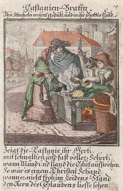 Kastanjebraadster, Caspar Luyken, 1711 (Rijksmuseum, RP-P-1896-A-19368-1615), Ingekleurd door Christianne Muusers
