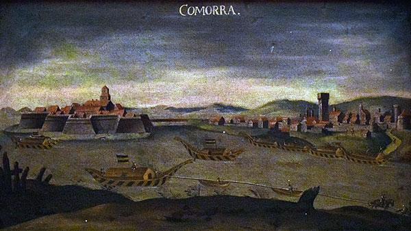 Uitzicht op Komárom met de rivier de Donau. Artiest onbekend. Bron: Wikimedia