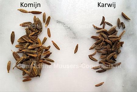 Komijnzaad (links) en karwijzaad of kyummel (rechts)