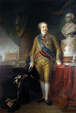 Portret van Alexander Kourakin, door Vladimir Borovikovsky (1802). Bron: wikimedia