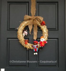 Home-made door wreath for Sinterklaas