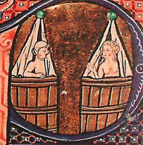 Middeleeuwse miniatuur van twee badende mensen. Bron: Wikimedia