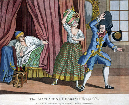 R. Marshall, 'The maccaroni husband henpeck'd' (1777). Lewis Walpole Library