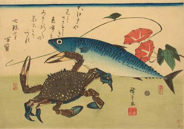 Makreel en krab, Ichiryusai Hiroshige, 1840-1842