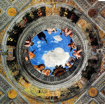 Plafondschildering door Andrea Mantegna in de Camera delli sposi (bruidskamer). Bron: Wikimedia