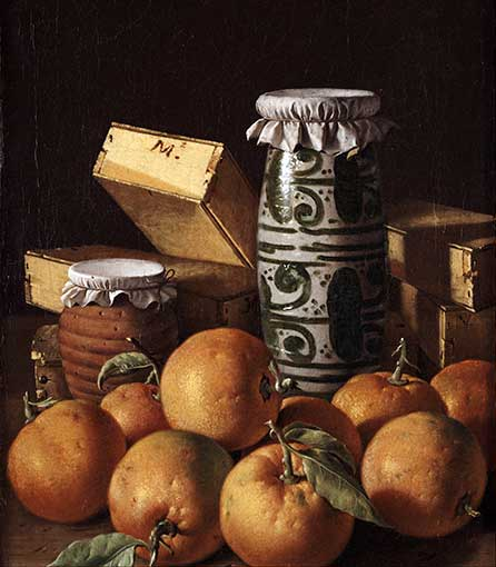 Stilleven met sinaasappels, potten en dozen, Luis Meléndez, 1760–65. Bron: Wikimedia