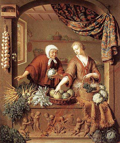 Vegetable shop, Willem van Mieris, 1731. On the left of the counter carrots and parsnips