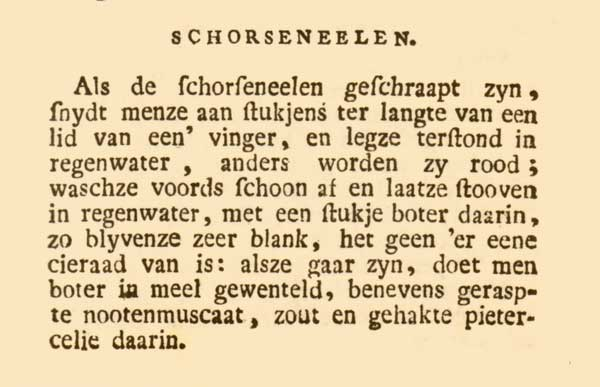 The original recipe for black salsify in the 'Nieuwe vaderlandsche kookkunst' (1796)