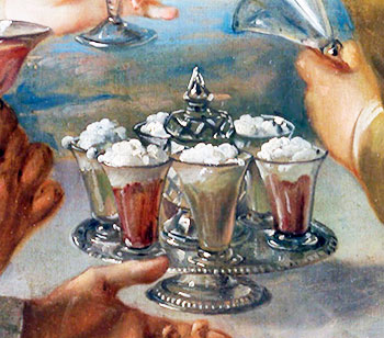 Syllabub glasses on the table. Detail from 'Taste' (1744-1747), a painting by Philippe Mercier (source Wikimedia)