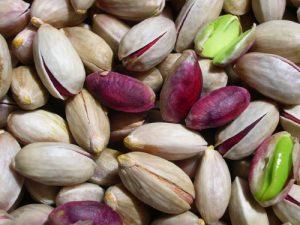 Van rode (onrijpe) pistachevruchten tot de rijpe, opengebarste vruchten met groene pit. Foto Fabio Ingrosso; bron Wikimedia.