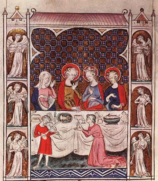 Miniatuur uit het Queen Mary Psalter (BL), ca 1310.