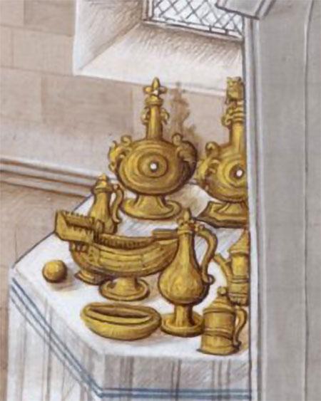 Vaatwerk op een credenza tijdens de kroning van Richard II in 1377. Recueils des croniques, Jean Wavres. Bron Wikimedia, (British Library, Royal 14 E IV f. 10)