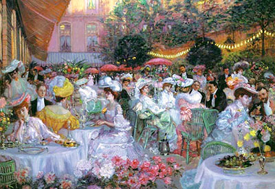 In the garden of the Ritz-hotel in Paris. Pierre George Jeanniot, 1908