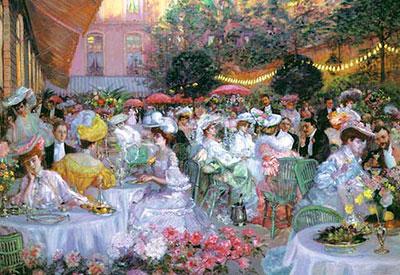 In de tuin van het Ritz-hotel in Parijs. Pierre George Jeanniot, 1908
