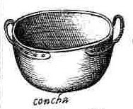 Scappi puts the small kettle with the zabaglione in the concha.