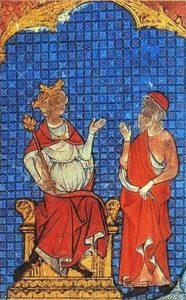 Koning Boctus en de wijze Sidrac (omslagillustratie van de editie van de middelnederlandse Sidrac)