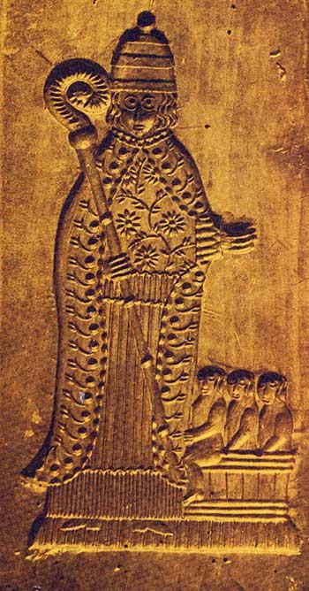 Sinterklaas en de drie door hem geredde kinderen (ongedateerd). Bron: Bakkersprentenboek.
