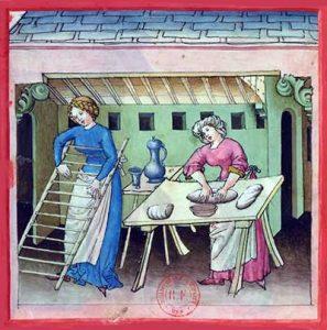 Pastamaken in het Tacuinum Sanitatis (BnF Latin 9333). Op de ladder komen de gesneden pastaslierten te hengen om te drogen.