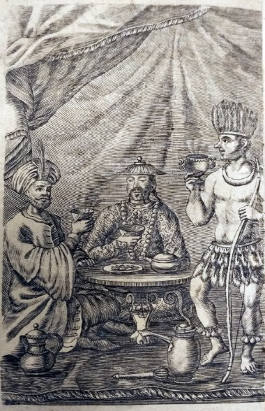 Frontispice van Tractatus novi de potus caphé, de chinensium thé, et de chocolata van P.S. Dufour (1685)