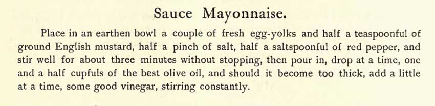 The original text of the recipe for mayonnaise