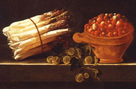 Detail of the Still life with asparagus and gooseberries and a pot with strawberries, Adriaen Coorte (1660-1707) (Dordrechts Museum)