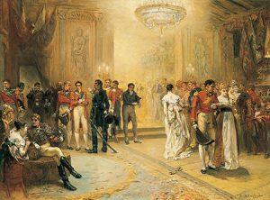 Bal in Brussel aan de vooravond van de Slag bij Quatre-Bras (1815); in 1870 geschilderd door R.A. Hillingford (bron: Wikimedia)