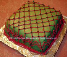 Kerstcake met groene glazuur
