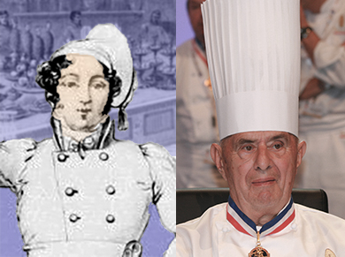 On the left Carême with the chef's hat that he introduced, on the right Bocuse iwth a later version of the chef's hat.