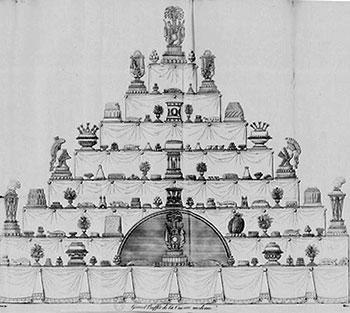 Illustratie uit Carême's Le Maitre d'Hotel uit 1842 van een buffet in negen lagen